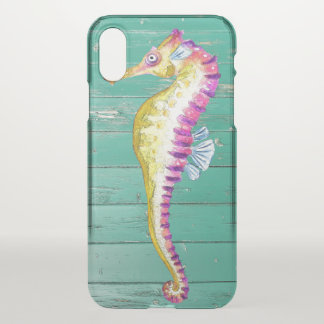 seahorse teal wood iPhone x case
