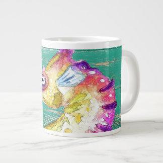 seahorse teal wood large coffee mug