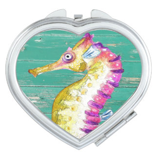 seahorse teal wood mirror for makeup