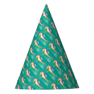 seahorse teal wood party hat