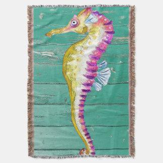 seahorse teal wood throw blanket