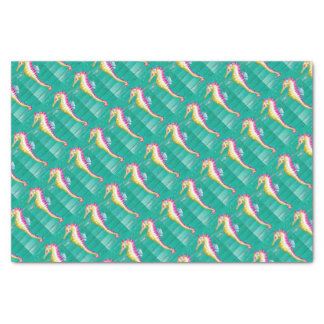 seahorse teal wood tissue paper
