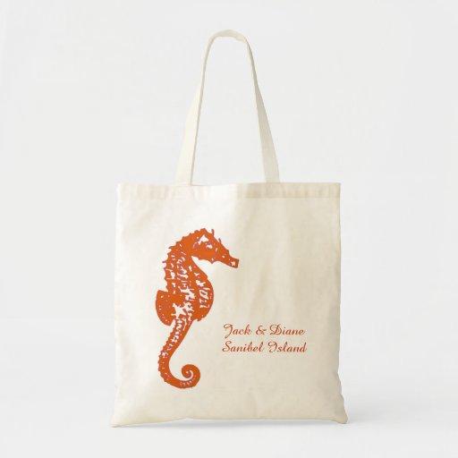 Seahorse Tote Destination Wedding Canvas Bags