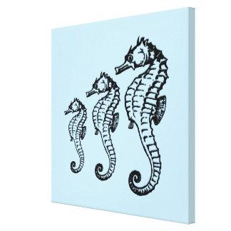 Seahorse Trio Blue Canvas Print