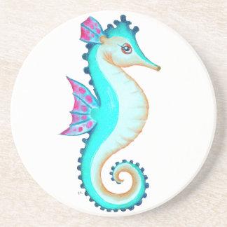 Seahorse Turquoise Beverage Coaster