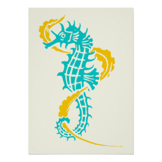 Seahorse turquoise blue, yellow and seaweed poster