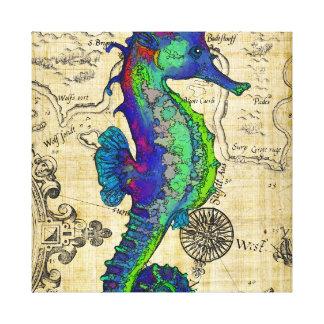 Seahorse Vintage Comic Map Canvas Print