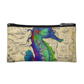Seahorse Vintage Comic Map Cosmetic Bag