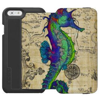 Seahorse Vintage Comic Map Incipio Watson™ iPhone 6 Wallet Case