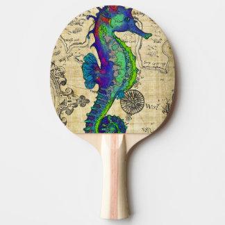 Seahorse Vintage Comic Map Ping Pong Paddle