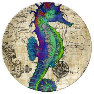 Seahorse Vintage Comic Map Plate