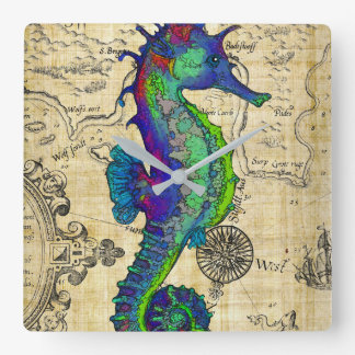 Seahorse Vintage Comic Map Square Wall Clock