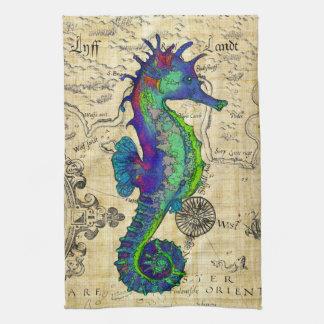 Seahorse Vintage Comic Map Tea Towel