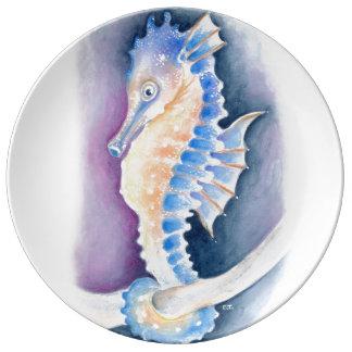 Seahorse Watercolor Art Plate