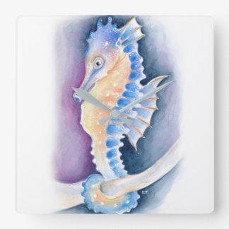 Seahorse Watercolor Art Square Wall Clock