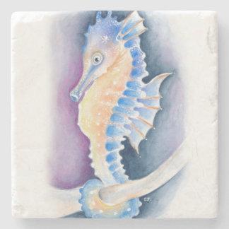 Seahorse Watercolor Art Stone Beverage Coaster