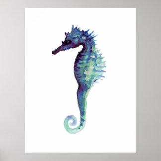Seahorse white art poster purple seahorses