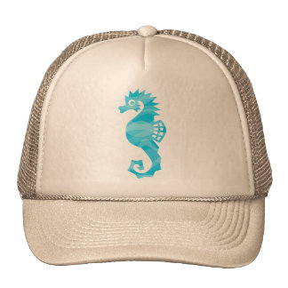 Seahorse with aqua waves cap