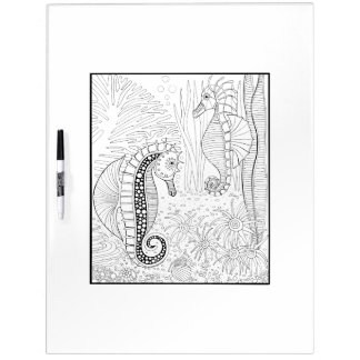 Seahorses Adult Coloring Dry Erase Board