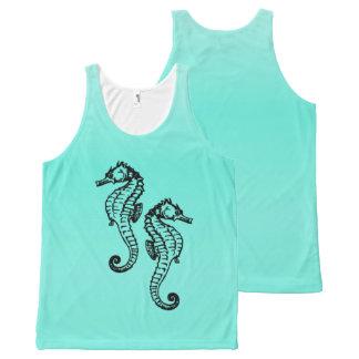 Seahorses Aqua All-Over Print Singlet