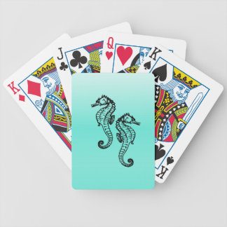 Seahorses Aqua Bicycle Playing Cards