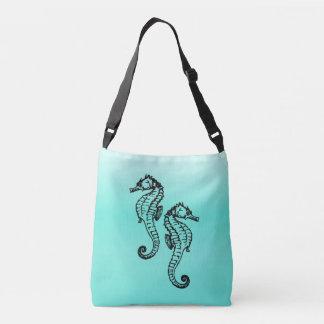 Seahorses Aqua Crossbody Bag