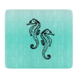 Seahorses Aqua Cutting Board
