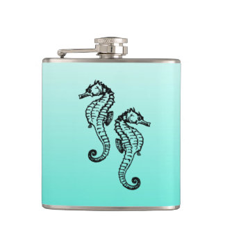 Seahorses Aqua Hip Flask