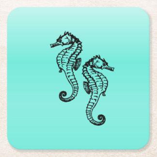 Seahorses Aqua Square Paper Coaster