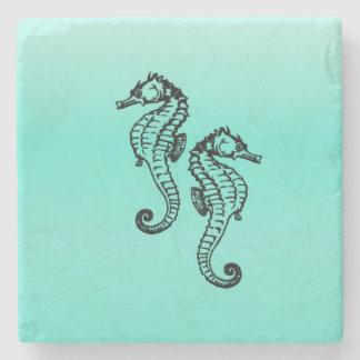 Seahorses Aqua Stone Coaster