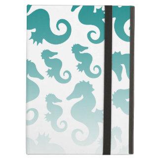 Seahorses aqua/teal pattern custom background iPad air case