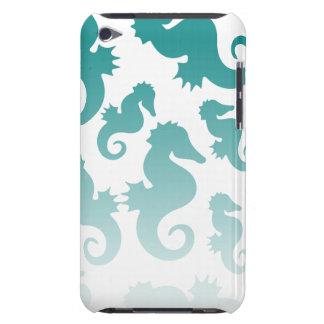 Seahorses aqua/teal pattern custom background iPod Case-Mate cases