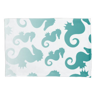 Seahorses aqua/teal pattern custom background pillowcase