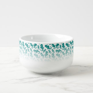 Seahorses aqua/teal pattern custom background soup mug