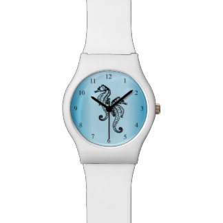 Seahorses Blue Black Numbers Watch