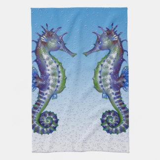 seahorses blue drops tea towel
