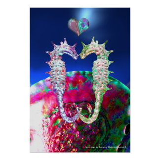 SEAHORSES IN LOVE , PINK BLUE MOTHER OF PEARL POSTERS