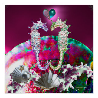 SEAHORSES IN LOVE , PINK TEAL BLUE MOTHER OF PEARL POSTERS