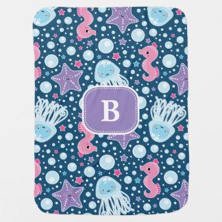 Seahorses & Jellyfish | Custom Initial Baby Blanket