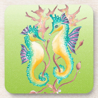 seahorses lime stained glass drink coaster