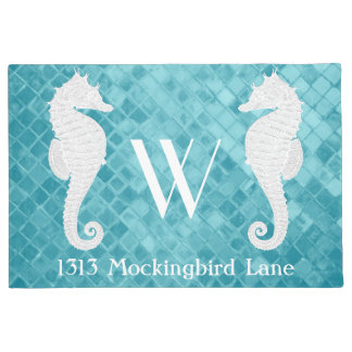 Seahorses Monogram Aqua Sea Glass Doormat
