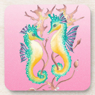 seahorses pink stained glass coaster