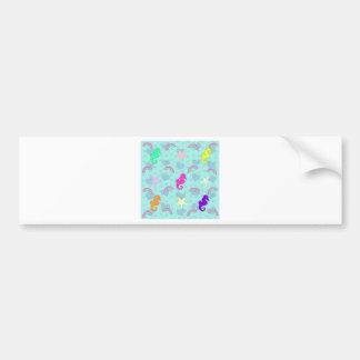 Seahorses, Rainbows and Starfish Design Bumper Sticker