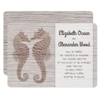 Seahorses Rustic Driftwood Wedding Invitation