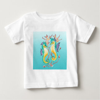 seahorses teal stainglass baby T-Shirt