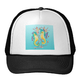 seahorses teal stainglass cap
