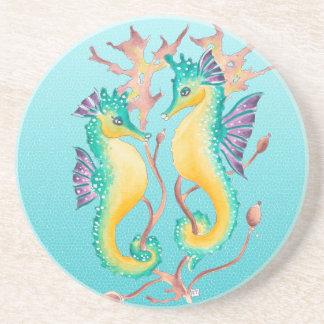 seahorses teal stainglass coasters