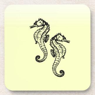 Seahorses Yellow Coaster