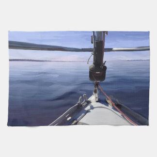 """Seaking the Horizon"" Sail Boat Tea Towel"