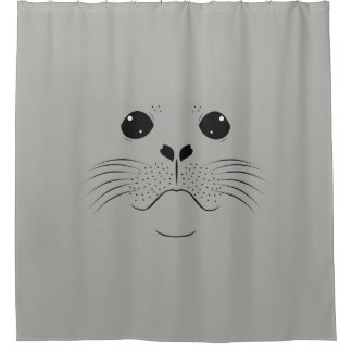 Seal face silhouette shower curtain